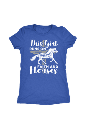 Steel Blue This Girl Runs on Faith & Horses T-Shirt