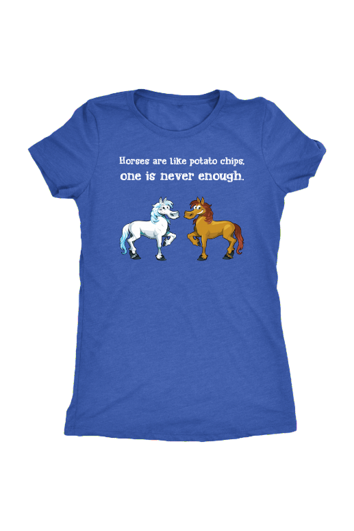 Horses Are Like Potato Chips - Tops-Tops-teelaunch-Ladies Triblend-Royal Blue-S-Three Wild Horses