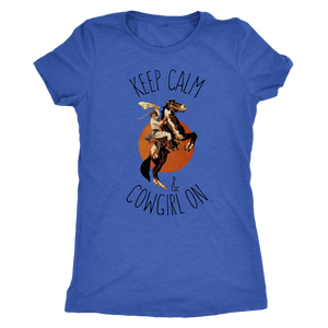 Steel Blue Keep Calm & Cowgirl On- T-Shirt