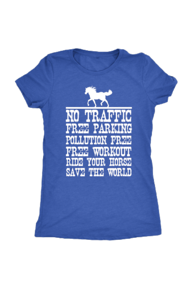 Ride Your Horse, Save the World - Tops-Tops-teelaunch-Ladies Triblend-Royal Blue-S-Three Wild Horses