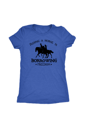 Steel Blue Riding A Horse - Borrowing Freedom T-Shirt