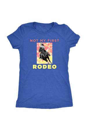 Not My First Rodeo Horse Shirt-T-shirt-teelaunch-Womens Triblend-Vintage Royal-S-Three Wild Horses