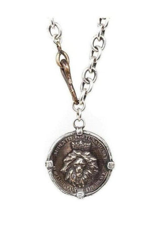 Lion Coin Necklace by Shannon Koszyk-Jewelry-Shannon Koszyk-Three Wild Horses
