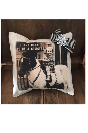 Born To Be A Cowgirl Pillow-Home Decor-Three Wild Horses-Three Wild Horses