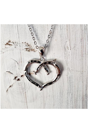 Heart Shaped Horseshoe Necklace SIlver-Jewelry-Three Wild Horses-.925 Sterling Silver-Three Wild Horses