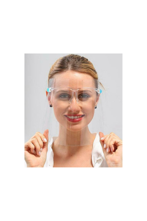 Light Gray Face Shield Eyeglass Style Clear Face Mask