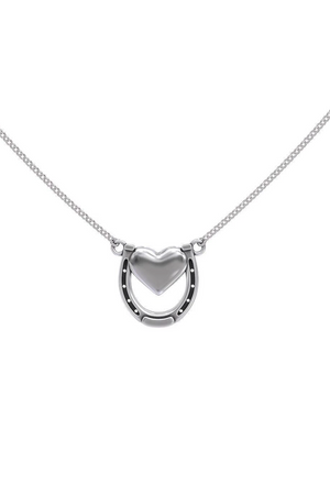 Dark Gray Capture my Heart Horseshoe Necklace in Sterling Silver