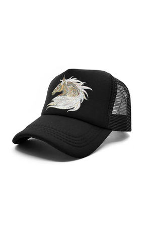 Black Mosaic Art Horse  Black Riding Baseball Cap