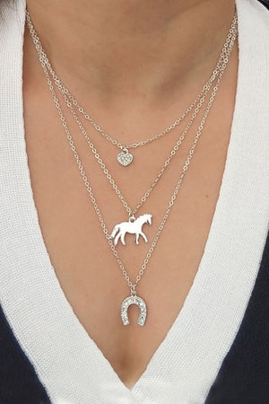 Light Gray Triple Horse Charm Necklace Silver