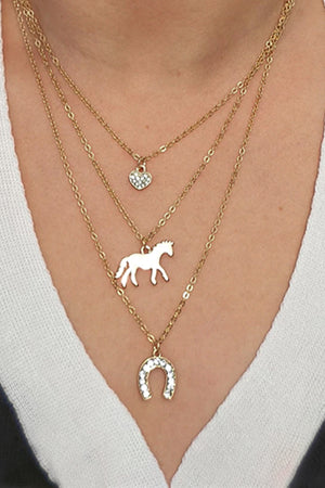 Light Gray Triple Horse Charm Necklace Gold