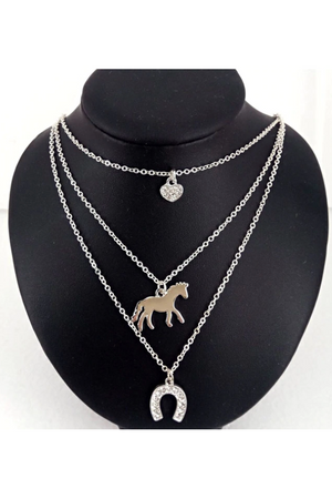 Black Triple Horse Charm Necklace Silver