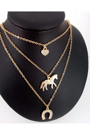 Black Triple Horse Charm Necklace Gold