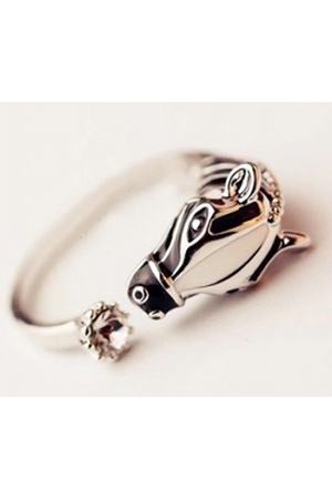 Black Wild Horse Silver Ring