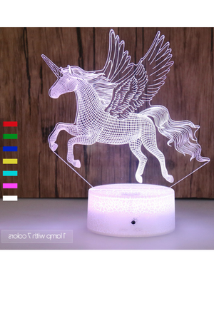 Thistle 3D Pegasus Horse Nightlight 7 colors