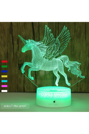 Medium Aquamarine 3D Pegasus Horse Nightlight 7 colors