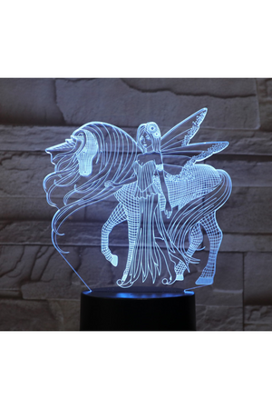 Cornflower Blue 3D Unicorn with Fairy Nightlight changes to 7 colors
