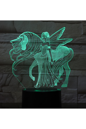 Dark Slate Gray 3D Unicorn with Fairy Nightlight changes to 7 colors -ON SALE!
