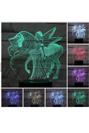 Dark Slate Gray 3D Unicorn with Fairy Nightlight changes to 7 colors
