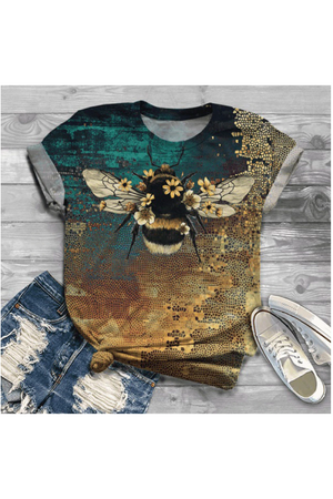 Dark Olive Green Bee Beautiful Tee Shirt