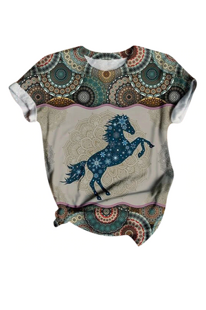 Rosy Brown Blue Stallion Abstract Tee Shirt