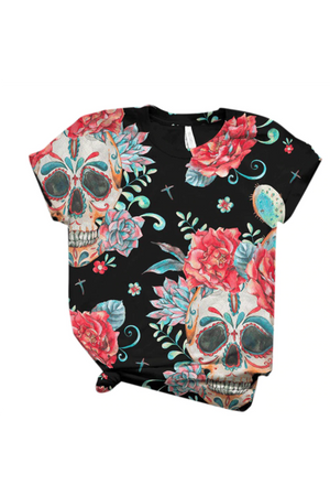 Maroon Day of The Dead Pink Roses Skull Tee Shirt