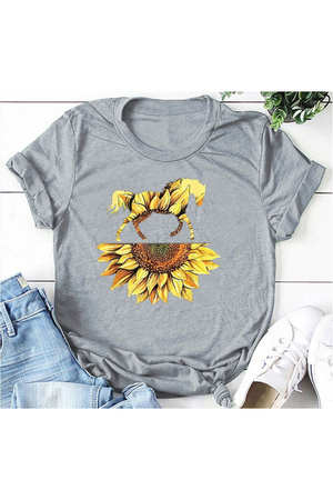 Dark Khaki Sunflower Stallion on Gray Tee Shirt