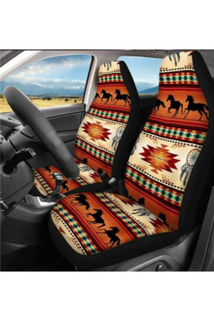 Saddle Brown Seven Tribes Horse Horizon Car Seat Cover - Set of 2