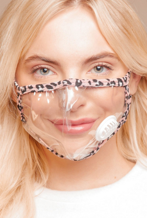 clear face mask pink leopard trim