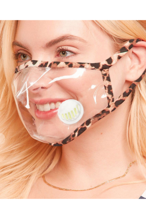 Clear face mask leopard trim