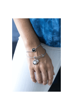 Pallene Custom Moon Bracelet in Stainless Steel-Bracelet-moonglow-Three Wild Horses