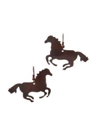 Rustic Metal Horse Earrings-Jewelry-Three Wild Horses-Three Wild Horses