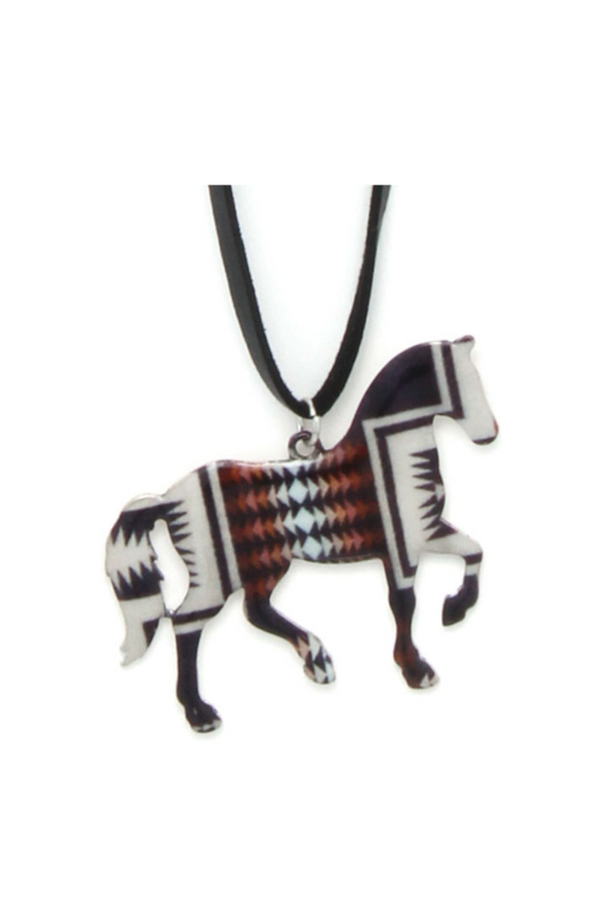 Tribal Horse Blanket Necklace with Earrings Set-Jewelry-Three Wild Horses-Three Wild Horses