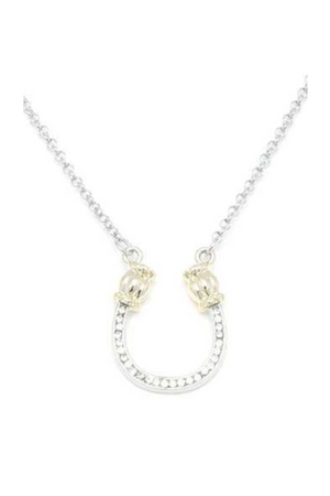 Rhinestone Silver & Gold Horseshoe Necklace-Jewelry-Three Wild Horses-Three Wild Horses