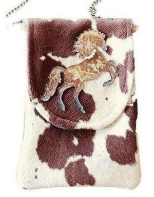 Saddle Brown Wild Stallion Cell Phone Bag Tan + White