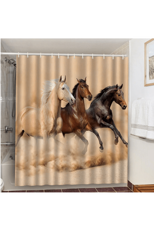 Saddle Brown Three Running Horses Shower Curtain