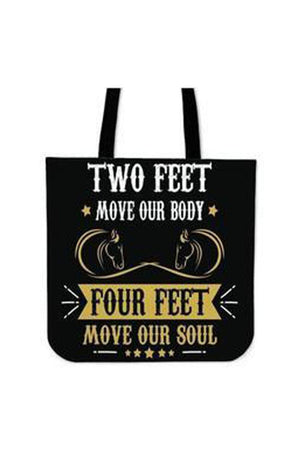 Black Two Feet Four Feet Horse - Tote Bag