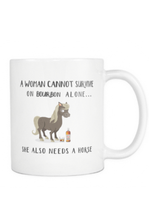 Bourbon - She Also Needs a Horse Mug-Drinkware-teelaunch-COFFEE MUG 11 OZ-Three Wild Horses
