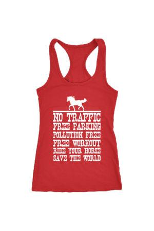 Ride Your Horse, Save the World - Tops-Tops-teelaunch-Racerback Tank-Red-S-Three Wild Horses