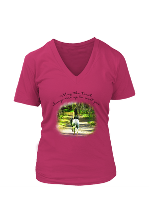 The Trail Always Rise - Tops-T-shirt-teelaunch-Womens V-Neck-Dark Fuchsia-S-Three Wild Horses