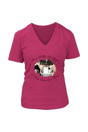 Born In A Barn - Tops-T-shirt-teelaunch-Womens V-Neck-Dark Fuchsia-S-Three Wild Horses