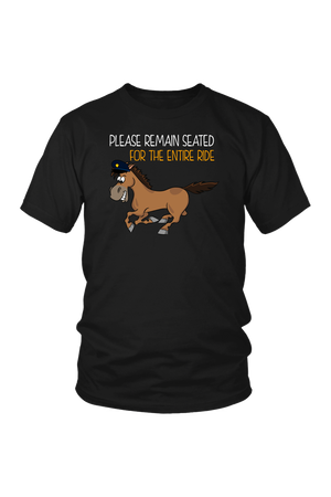 Replacement Tee - Please Remain Seated-Tops-teelaunch-District Unisex Tee-Black-S-Three Wild Horses