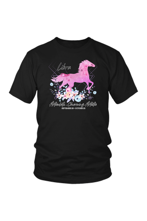 Libra Horse Unisex Shirt-T-shirt-teelaunch-District Unisex Shirt-Black-S-Three Wild Horses