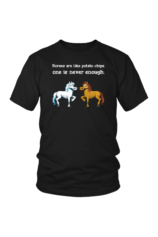 Horses Are Like Potato Chips - Tops-Tops-teelaunch-Unisex Tee-Black-S-Three Wild Horses
