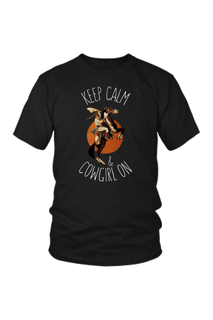Black Keep Calm & Cowgirl On T-Shirt in White