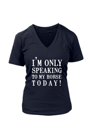 Only Speaking To My Horse Tops in Black-T-shirt-teelaunch-Womens V-Neck-Navy-S-Three Wild Horses