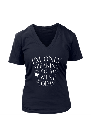 Only Speaking To My Wine Shirt In Black-T-shirt-teelaunch-Womens V-Neck-Navy-S-Three Wild Horses