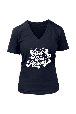 Black Just A Girl Who Loves Horses-Tops