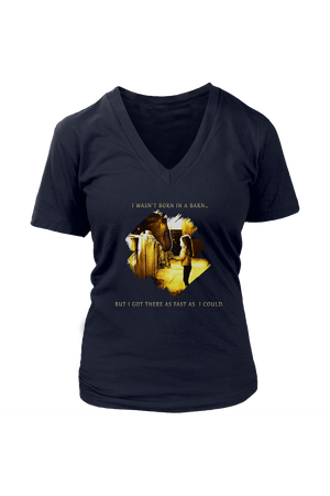 I Was Not Born In The Barn Tops-T-shirt-teelaunch-Womens V-Neck-Navy-S-Three Wild Horses