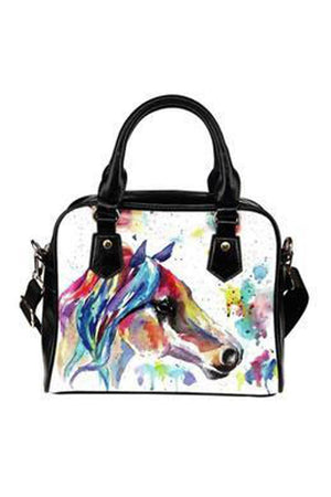 Black Watercolor Horse Shoulder Handbag