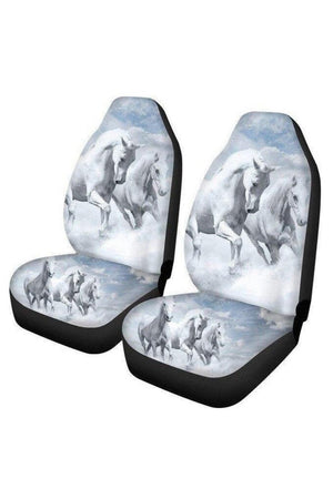 Gray White Horse Car Seat Covers-Set of 2 Car Seat Covers